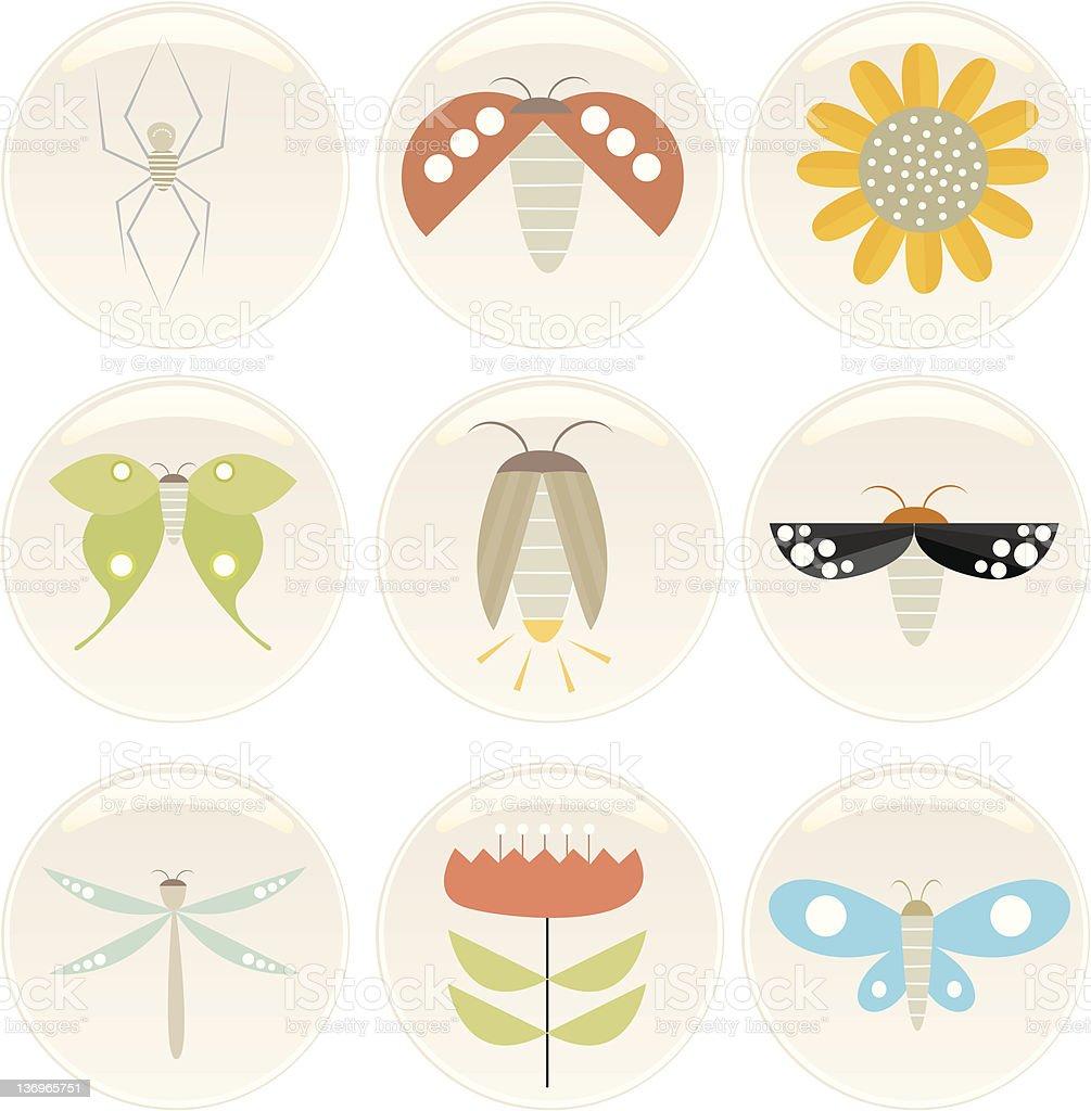 insect n flower badges vector art illustration