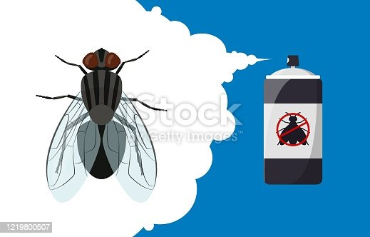 Insect repellent banner concept. Fly repellent aerosol. Pest, insect and bug control spray bottle. Cartoon fly. Vector illustration
