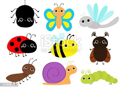 Insect set. Beetle, ladybug ladybird, dragonfly, ant, butterfly, green caterpillar spider, honey bee snail. Cute cartoon kawaii baby animal character. Flat design. White background. Isolated Vector