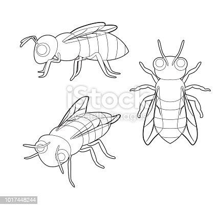 Ilustración de Insectos Abeja Lindo Set Vector De Dibujos Animados ...