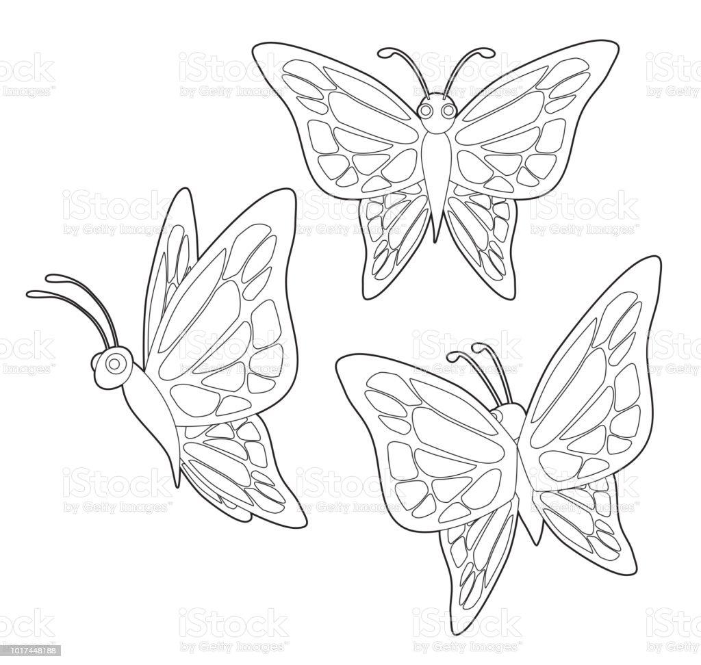 塗り絵セットかわいい蝶の昆虫漫画ベクトル お絵かきのベクターアート