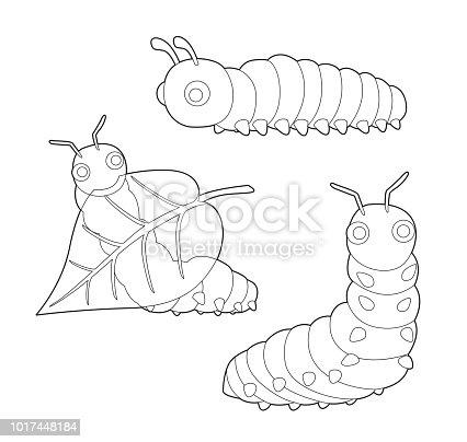 Böcek Küme Sevimli Tırtıl Karikatür Vektör Boyama Kitabı Stok Vektör