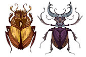 Insect set in color with a tribal pattern.