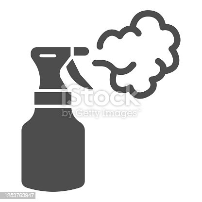 Insect spray solid icon, agriculture and farming concept, Antibacterial spray sign on white background, Bug sprayer icon in glyph style for mobile concept and web design. Vector graphics
