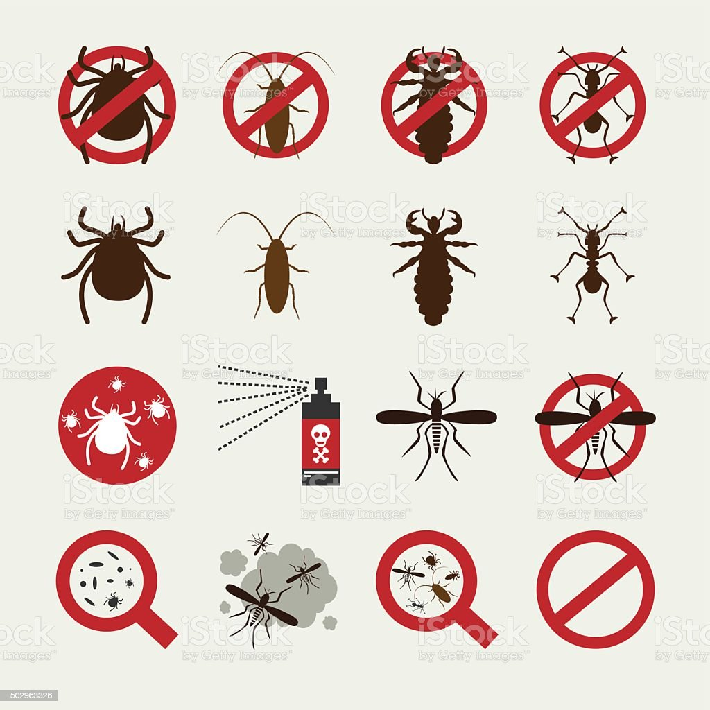 Insecticide Icon set vector art illustration