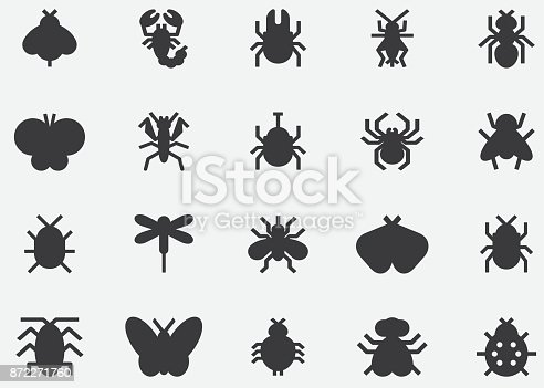 Insects And Bugs Black Silhouette Icons