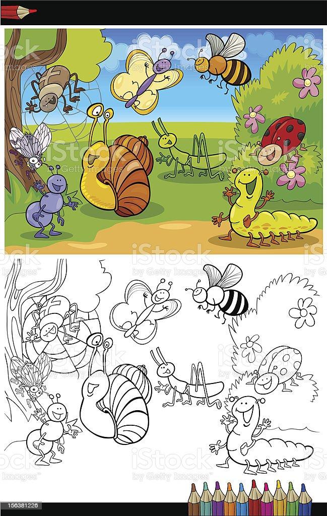Ilustración de Insectos Y Errores O Página Para Colorear Libro y más ...
