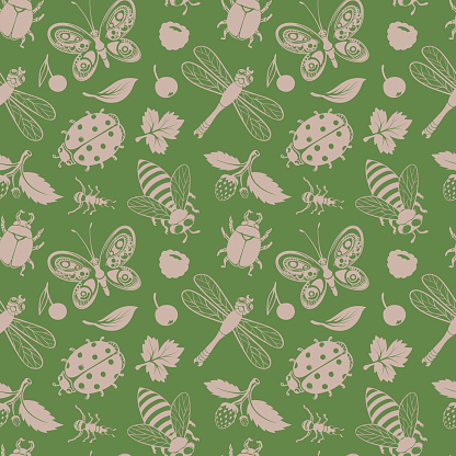 Insects and leaves Drawing Pattern