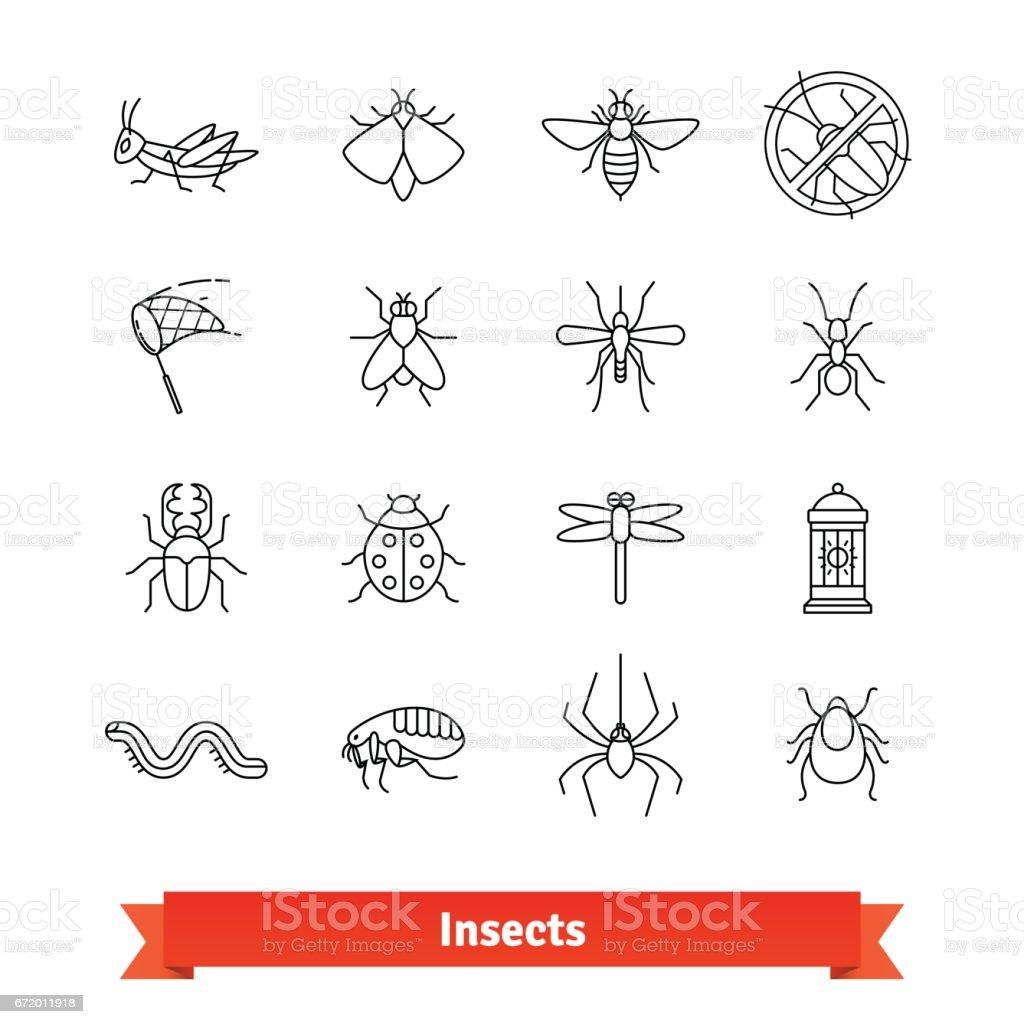 Insetos e pragas extermínio fina linha conjunto de ícones - ilustração de arte em vetor