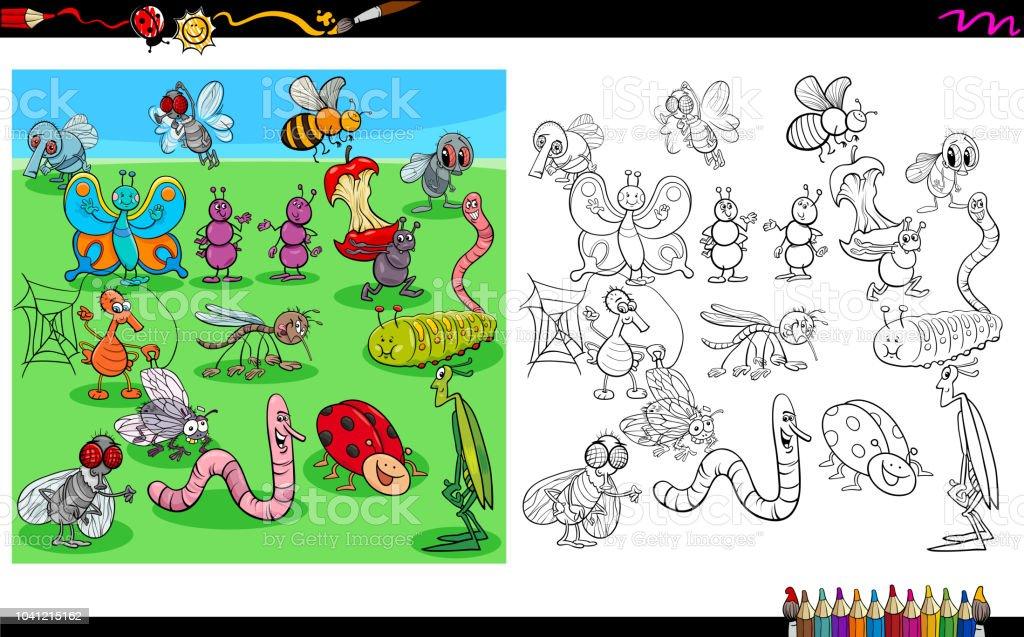 Ilustración de Personajes Animales Insectos Libro Para Colorear y ...