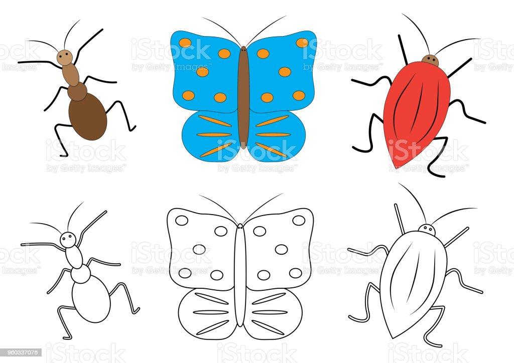 Ilustración De Dibujos Animados De Insectos Libro De Colorear Juego
