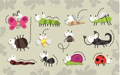 Vector illustration of cute insects collection, Isolated on gray background, Funny Cartoon characters