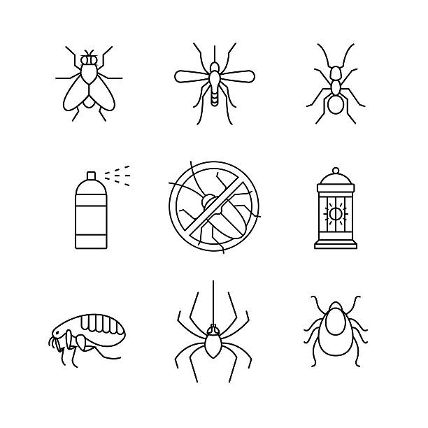 illustrazioni stock, clip art, cartoni animati e icone di tendenza di insetti controllo degli infestanti, contro emblema, insetticida - zanzare