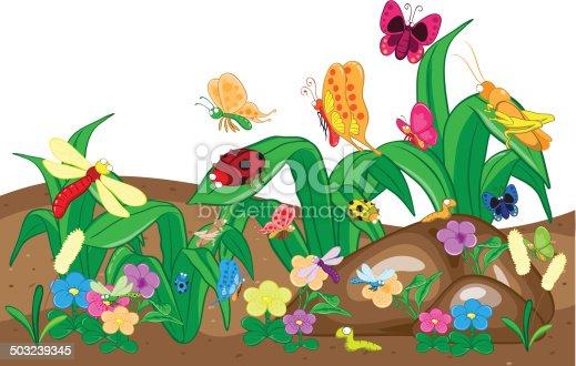 Insekten familie auf dem boden und baum cartoon und for Boden cartoon