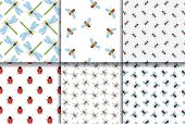 Insects seamless patterns collection.