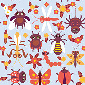 Funny insects Spider butterfly caterpillar dragonfly mantis beetle wasp ladybugs seamless pattern on blue background with flowers and leaves. Vector illustration