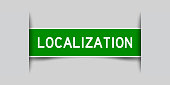 istock Inserted green color label sticker with word localization on gray background 1330917524