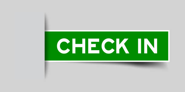 inserted green color sticker label with word check in on gray background - hotel reception stock illustrations
