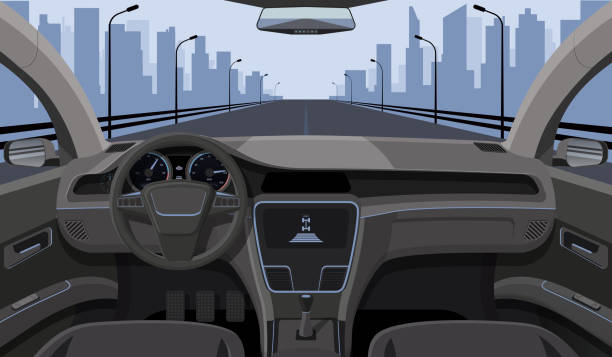 Inside car driver view with rudder, dashboard front panel and highway in windshield cartoon highway vector illustration Inside car driver view with rudder, dashboard front panel and highway in windshield cartoon highway vector illustration. Interior of automobile, drive speed car driveway stock illustrations