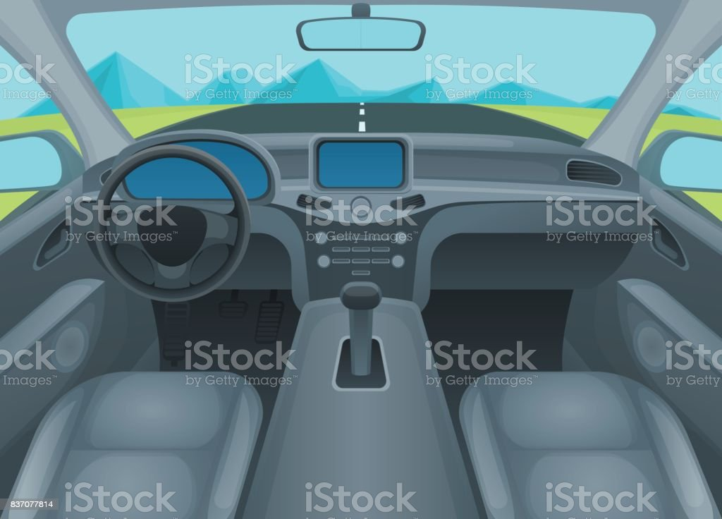 Im Auto oder Auto Innenraum. Vektor – Vektorgrafik