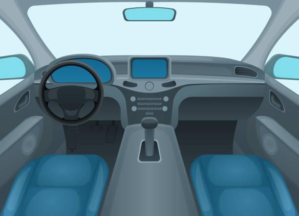 illustrazioni stock, clip art, cartoni animati e icone di tendenza di inside car or auto interior. vector - close up auto