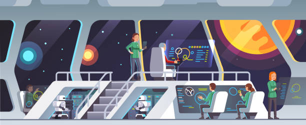 Inside science fiction intergalactic spaceship interior traveling through galaxy. Main bridge deck with captain sitting in chair. Flat style isolated vector Interstellar spaceship main bridge interior with captain, chief officer and crew working. Inside science fiction intergalactic pioneers ship deck. Space travelers on mission. Flat vector illustration mission control stock illustrations