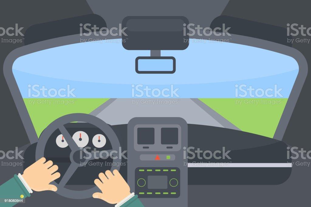 Im Inneren des Autos. – Vektorgrafik