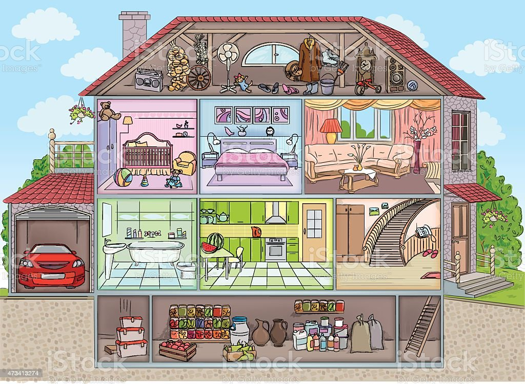 Inside the house vector art illustration