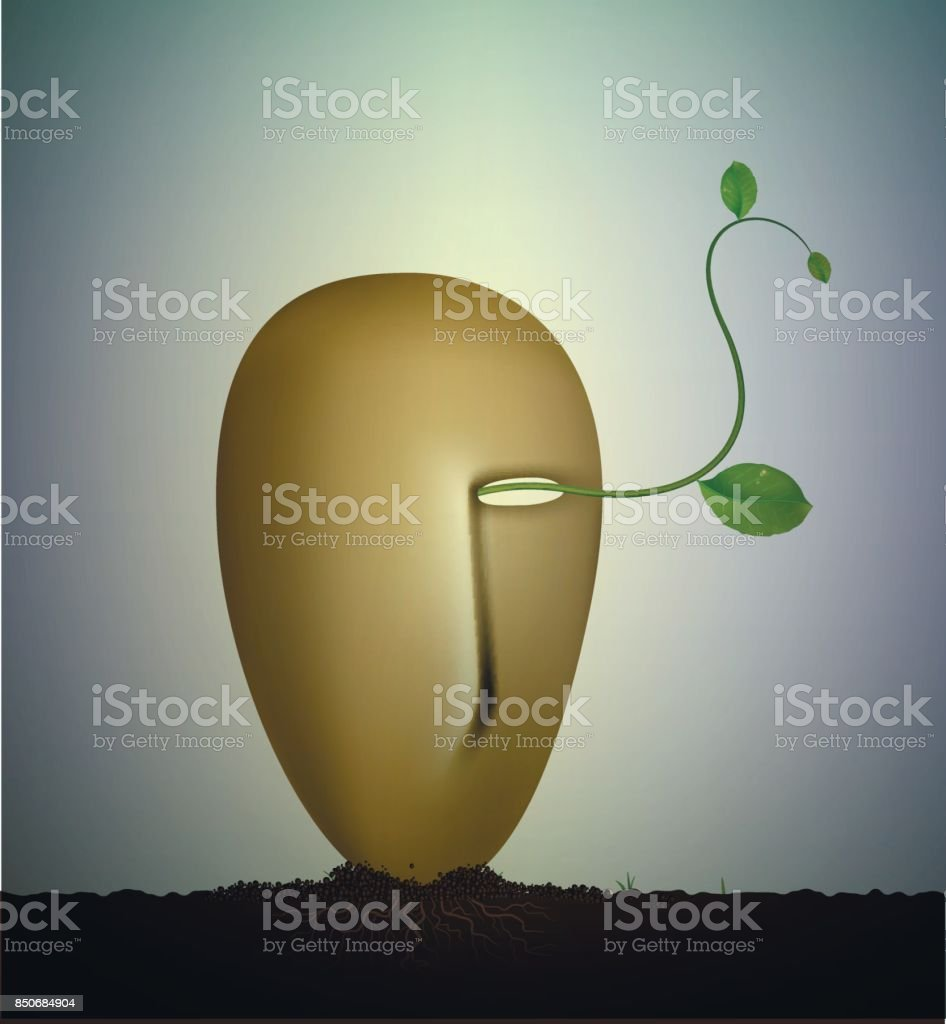 inside the nature, surrealism sculpture, Earth dream, plant alive idea, vector art illustration