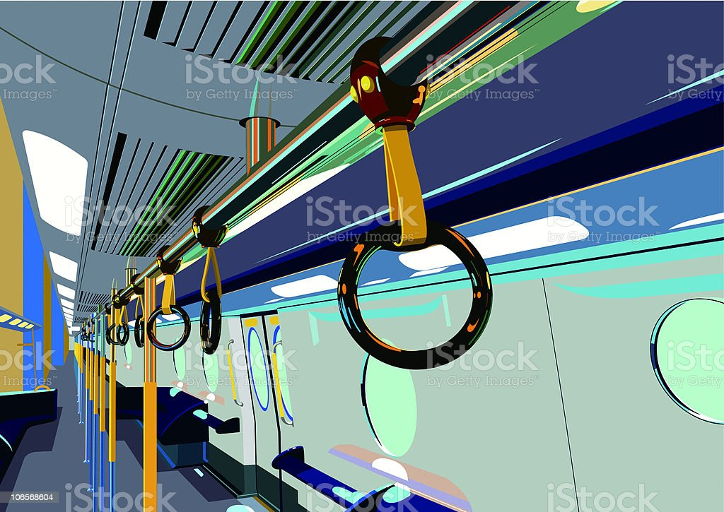 inside the subway car royalty-free stock vector art