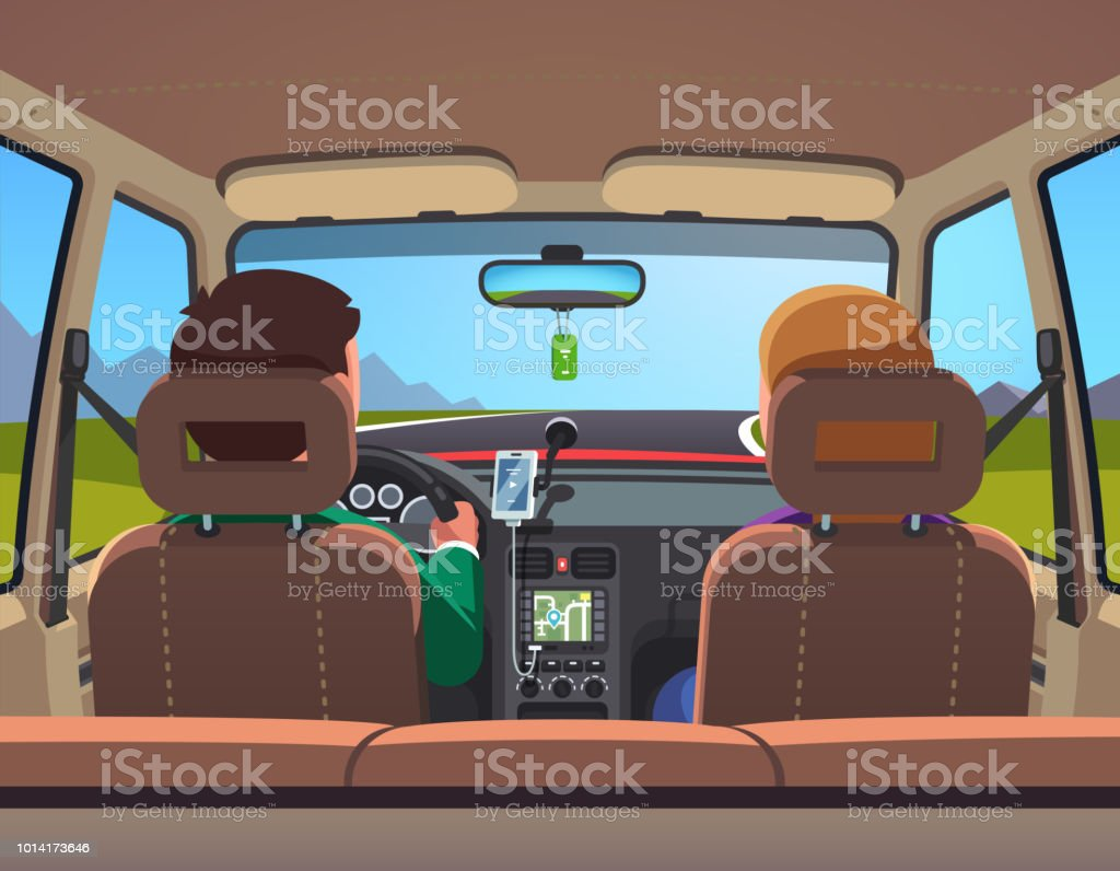 Inside View Of Sedan Car With Family Couple Driving On Road Vector