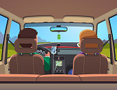 Inside view of sedan car with family couple driving on road vector clipart illustration