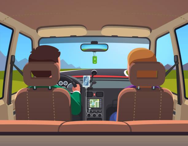bildbanksillustrationer, clip art samt tecknat material och ikoner med vy innifrån av sedanmodell bil med familj par körning på väg vektor clipart illustration - kör