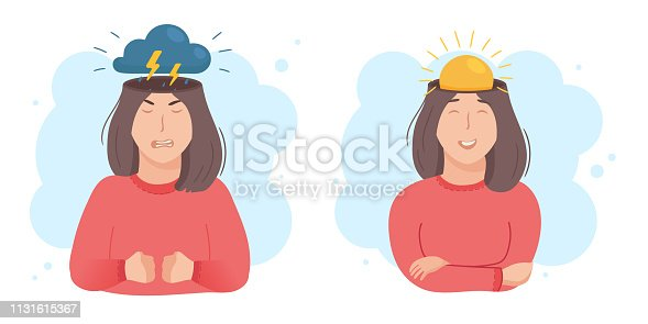 istock Inside woman's head concept. Good and bad mood. Sun or clouds in place of brain. Girl happy or angry, pre menstrual syndrome PMS sign. Vector illustration isolated on white 1131615367