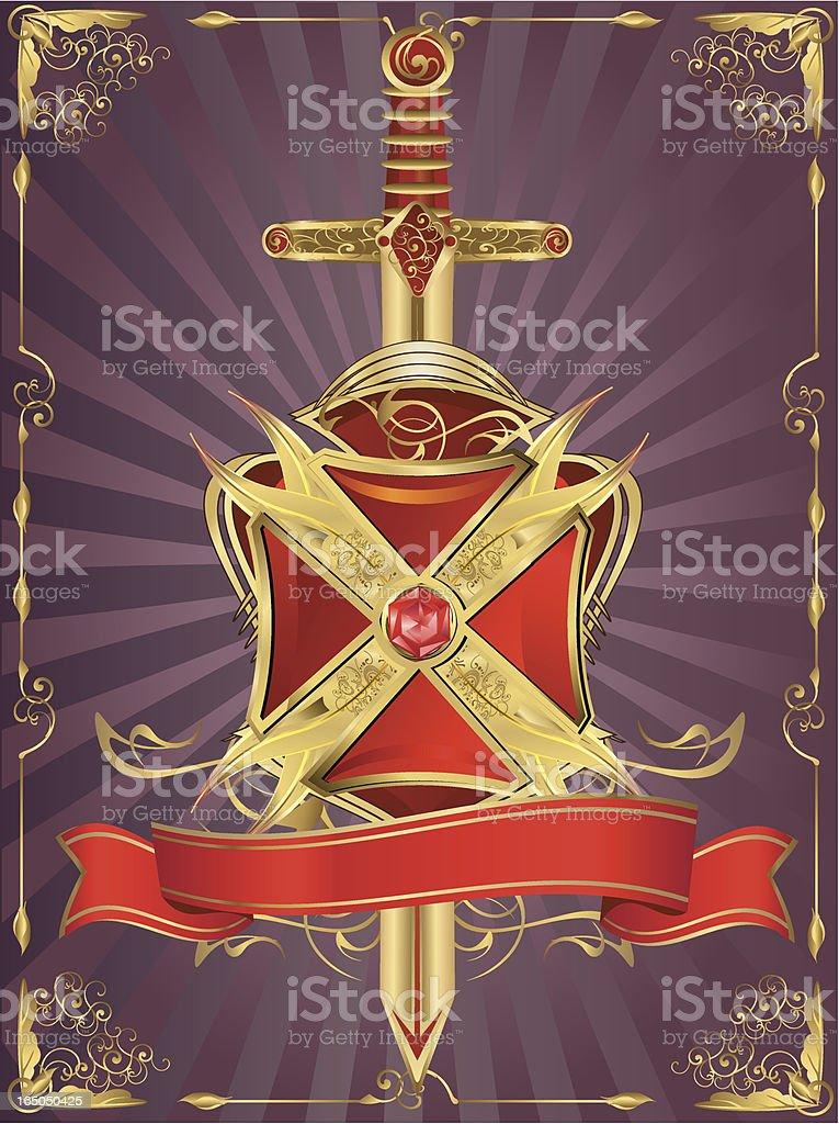 Insignia - sword, cross-shaped crest & shield royalty-free stock vector art