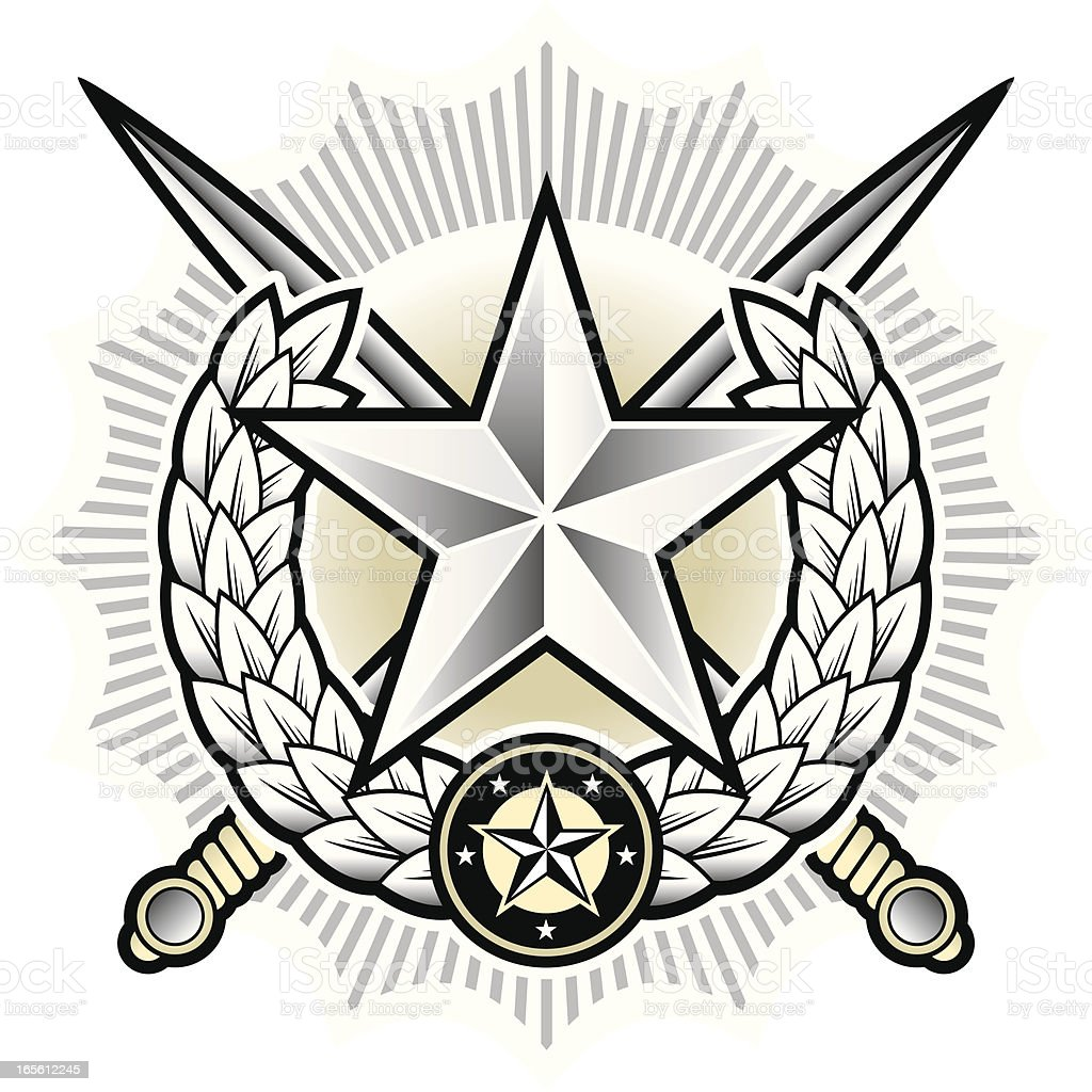 Insignia with swords royalty-free stock vector art