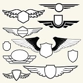 Insignias or Logotypes with wings set on white background.