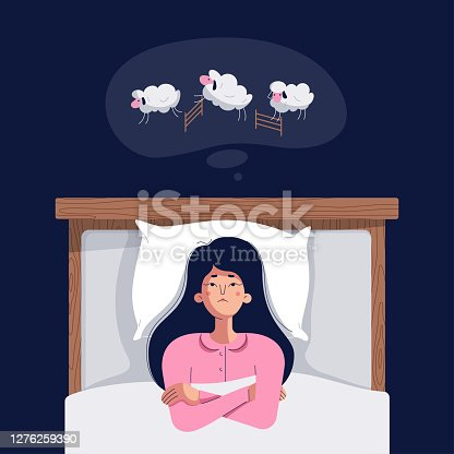 istock Insomnia concept. Cute young woman counting sheep. Sleepless girl lying in bed with open eyes, trying to fall asleep. Insomnia, sleep disorder vector illustration. Character, flat cartoon style 1276259390