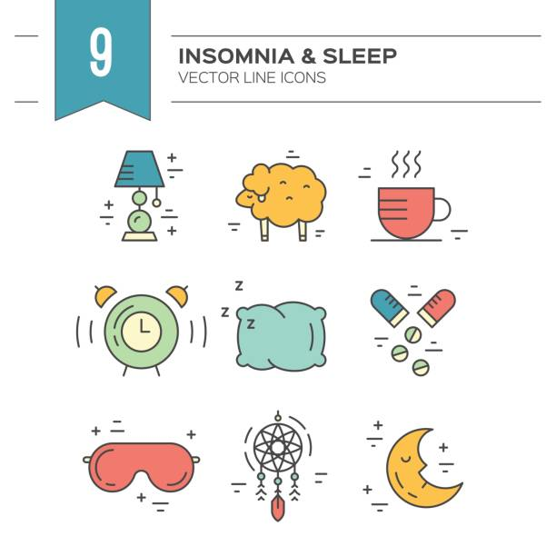Iconos de línea de insomnio - ilustración de arte vectorial