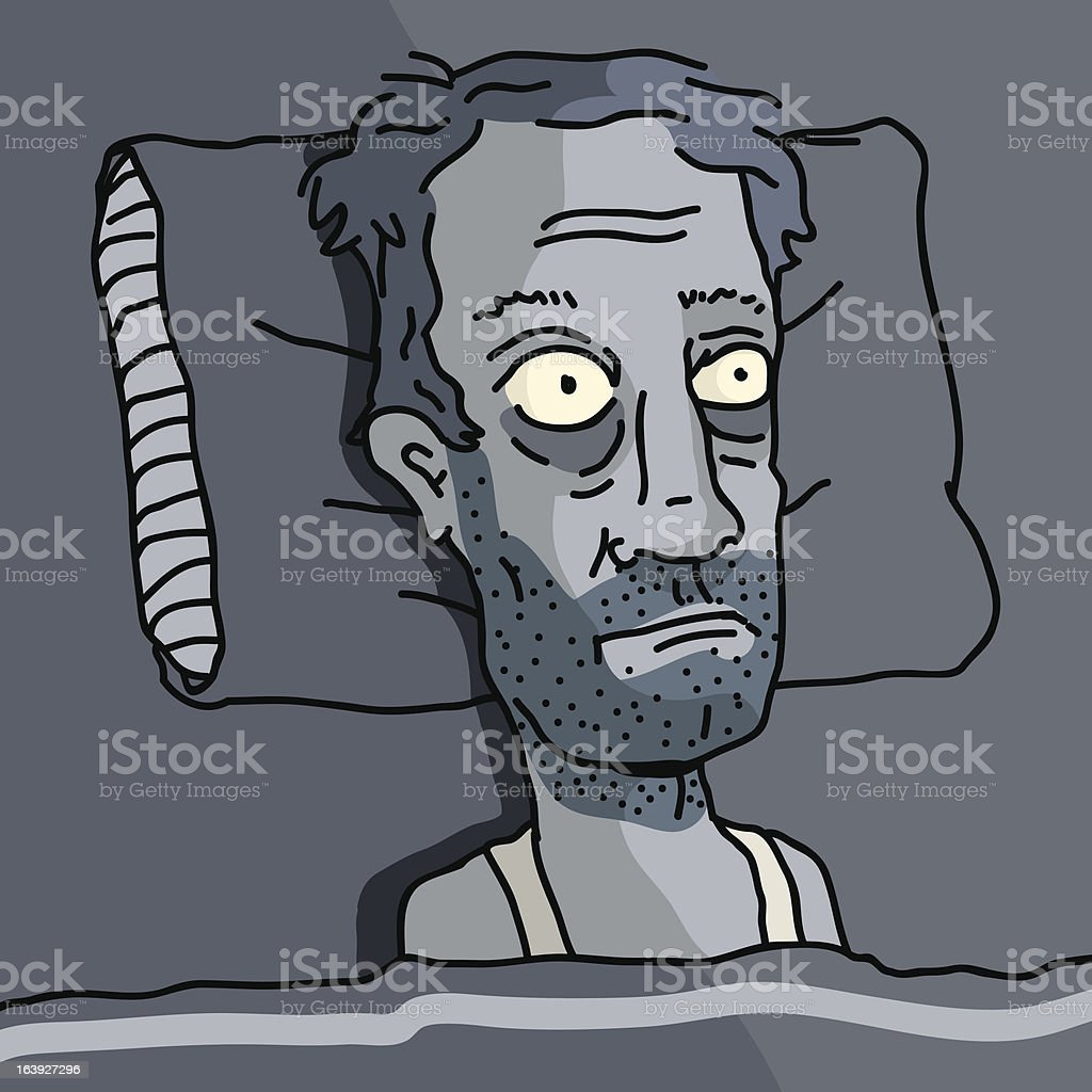 Insomnia man looking like a zombie lying in bed vector art illustration