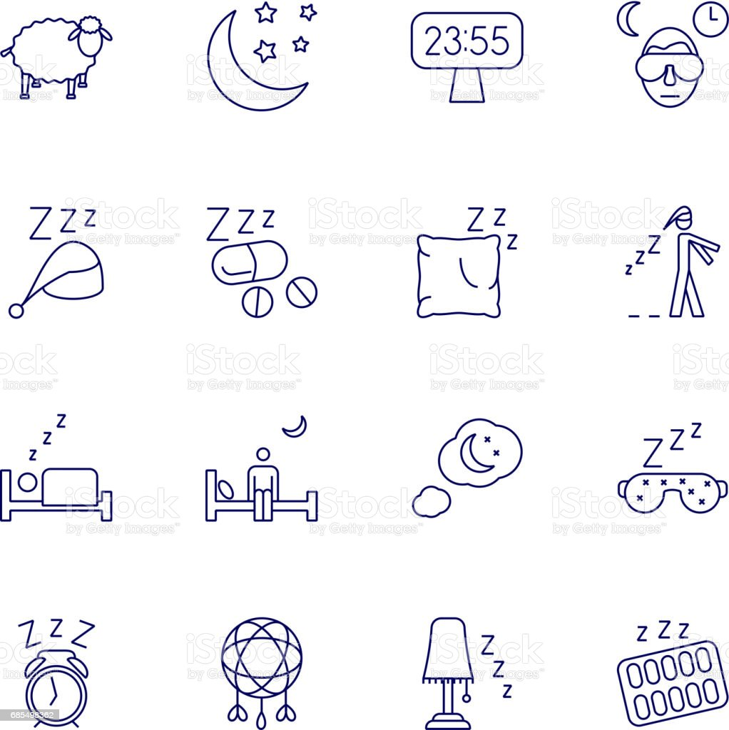 Insomnia problems icons and sleeping trouble vector signs vector art illustration