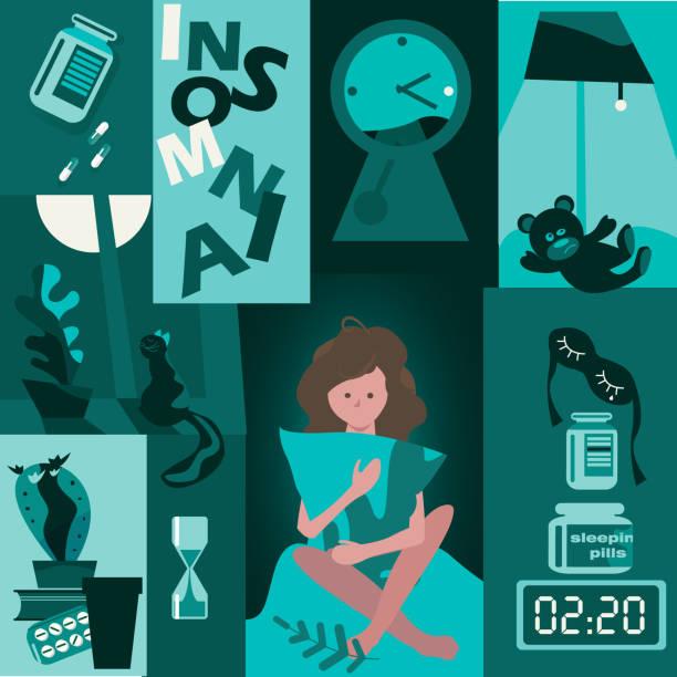 Insomnie. ensemble de photos sur le problème de dormir - Illustration vectorielle