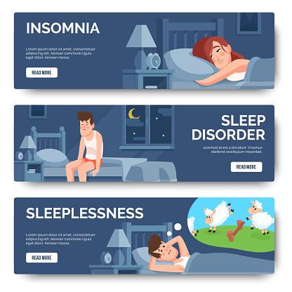 Insomnia, sleep disorder isolated banner of set
