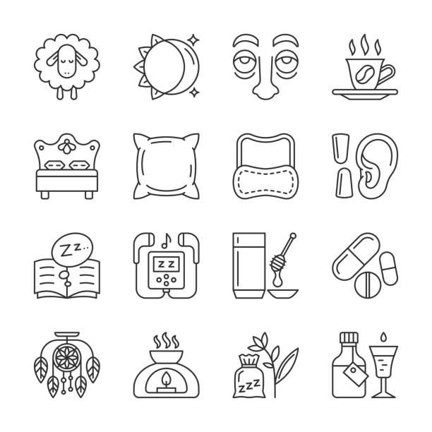 Icono de la delgada línea de insomnio establece trazo editable - ilustración de arte vectorial