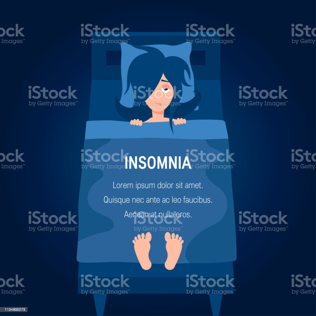 Insomnia Vector Concept In Simple Flat Style Stock