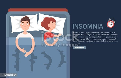 Insomnia vector web banner design template. Vector flat style design illustration. Adult man suffering from sleeplessness. Emotional health problems, sleep disorder concept.