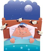 vector illustration of sleepless fat man looking at bleating sheep…