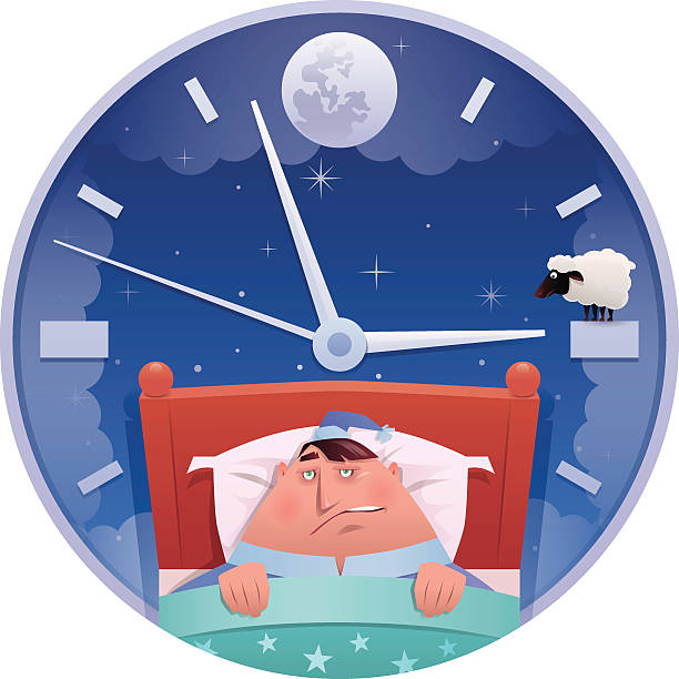 insomnia vector illustration of sleepless fat man looking at clock… inconvenience stock illustrations