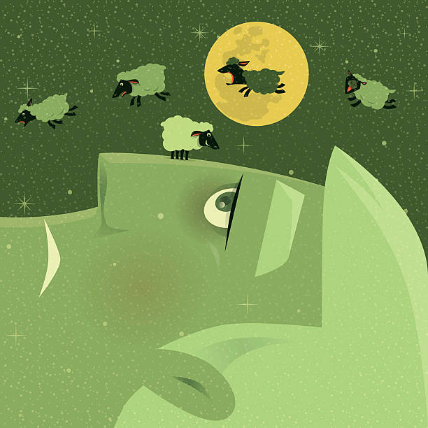 insomnia vector illustration of sleepless man with group of lambs… inconvenience stock illustrations