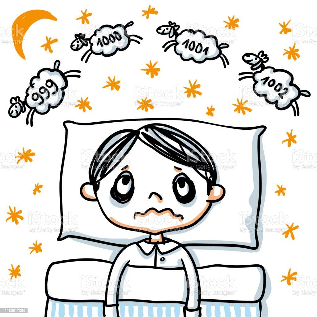Insomnie - Femme la nuit qui ne peut pas s'endormir compte des moutons dans une spirale sans fin - illustration de vecteur portée à la main d'insomnie - clipart vectoriel de Insomnie libre de droits